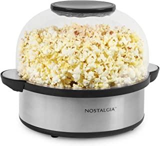 Nostalgia SP660SS 6-Quart Stirring Popcorn Popper With Quick-Heat Technology, Makes 24 Cups of Popcorn, Kernel Measuring C...