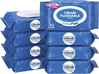 Cottonelle FreshCare Flushable Wet Wipes for Adults, Alcohol Free, 336 Wipes per Pack (Eight 42-Count Flip-Top Packs)