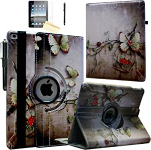 JYtrend Smart Case for iPad 2nd/ 3rd/4th Generation with Pencil Holder, Rotating Stand Magnetic Cover for iPad 2/3/4 A1395 A1396 A1397 A1403 A1416 A1430 A1458 A1459 A1460 (Butterfly Flower)