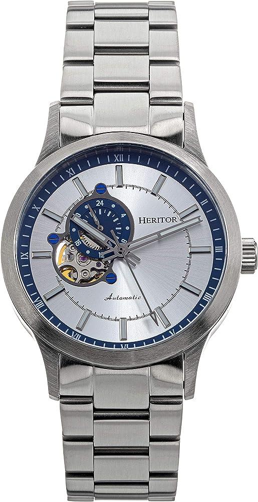 Heritor,orologio automatico per uomo,in acciaio inossidabile argentato 316l HERHS1009