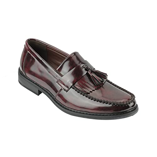c397332e49d7 Xposed Mens Vintage Polished Patent Leather Tassel Loafers Retro MOD Shoes  in Oxblood