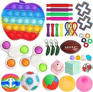 Sensory Fidget Toy Set Box for Kids 38 Pack Including Push pop, Fidget Spinners, Stress Balls, Pop Tubes, Bike Chain Fidge...