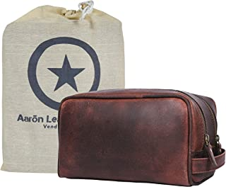 Aaron Leather Goods Leather Toiletry Bag for Men and Women Brown 10.5 Inch (Walnut)