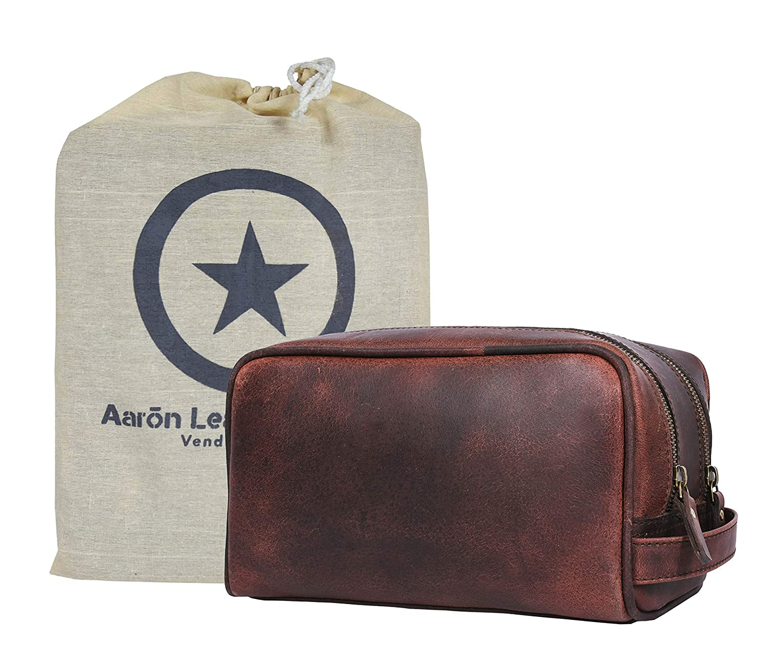 Aaron Leather Goods Toiletry Bag Dallas Mall Under blast sales for and Women Men Brown