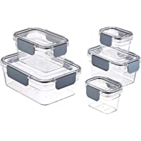 AmazonBasics Tritan 10 Piece (5 Containers and 5 Lids) Locking Food Storage Container (Clear)