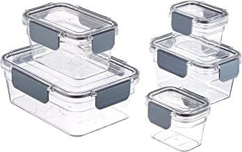 AmazonBasics Tritan 10 Piece (5 Containers and 5 Lids) Locking Food Storage Container - Clear