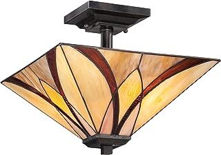 Quoizel TFAS1714VA Asheville Tiffany Semi-Flush Ceiling Lighting, 2-Light, 200 Watts, Valiant Bronze (12
