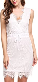 Beyove Women's Casual Lace Floral Crossover V Neck Sleeveless Short Pencil Dress