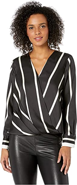 Petite Long Sleeve Dramatic Stripe Front Wrap Blouse