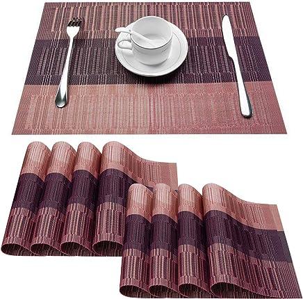 Top Finel Placemats,Plastic Table Mats Set of 8,Heat Resistant Washable Place Mats Dinner Table,Purple&Black