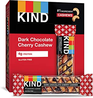 KIND Bars, Dark Chocolate Cherry Cashew + Antioxidants, Gluten Free, 1.4 Ounce (12 Count)