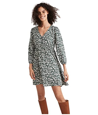 Madewell V-Neck Button-Front Mini Dress in Forest Leaves Women