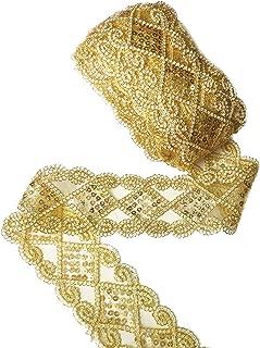 Gnognauq Gold Lace Trim Sequinned Ribbon Vintage Decorative Wedding/Bridal DIY Craft Sewing (10 Yards)