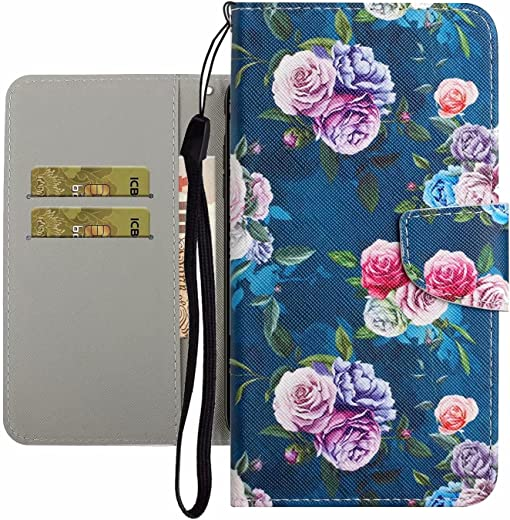 TYWZ Cute Case for Samsung Galaxy A03S,PU Leather Cover for Girls Women Colorful Design Wallet Stand Card Slot Magnetic Clasp Flip Bumper-Rose Flower