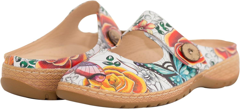 Anuschka Women's Leather Open Back Mary Jane Shoe, Indira | Memory Foam Footbed