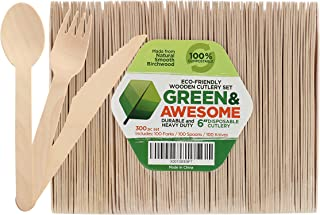 """Disposable Wooden Cutlery Set - 300 pc,100 Forks, 100 Spoons, 100 Knives, 6"""" Length Eco-Friendly 100% Compostable Biodegradable, Natural Wooden Utensils, Party Use, Camping by GREEN & AWESOME"""