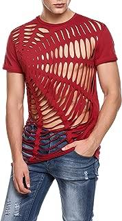 Men's Hollow Out Design T-Shirt Fashion Short Sleeve Hip-Hop Sexy Tees