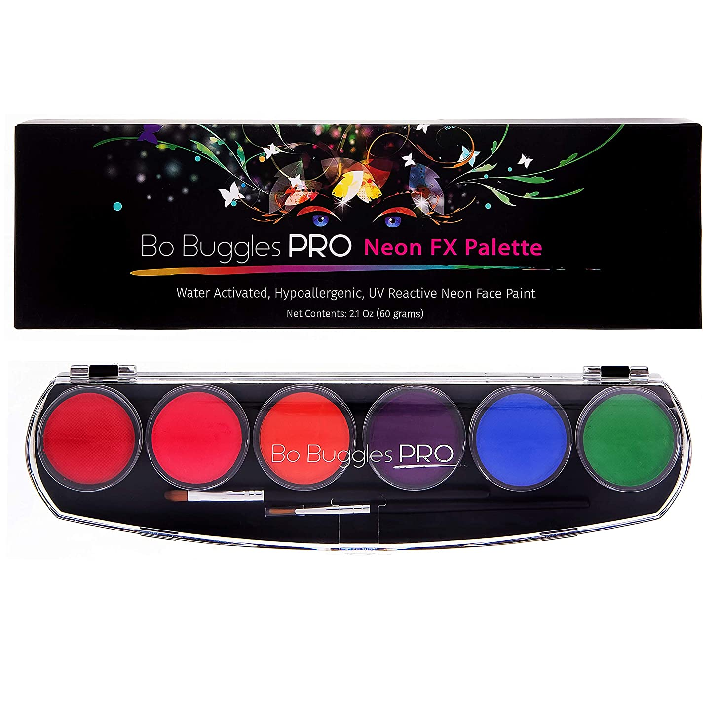 Bo Buggles Professional Face Paint Kit Neon UV Reactive. Water-Activated Face Painting Palette. Loved by Pro Painters for Vibrant Detailed Designs. 12x10 Gram Paints +2 Brushes. Safe Quality Makeup