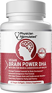 Vegan DHA for Brain and Prenatal 100% Algae Based Omega 3 Essential Fatty Acids with NO Carrageenan, NO Vegetable Oil Plus...