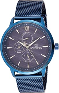 Naviforce Men's Blue Dial Stainless Steel Mesh Analogue Classic Watch - NF3003-BEBE