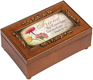 Cottage Garden Friend Never Know How Much Woodgrain Embossed Jewelry Music Box Plays What Friends are for
