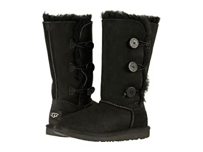 UGG Kids Bailey Button Triplet II (Little Kid/Big Kid) (Black) Girls Shoes