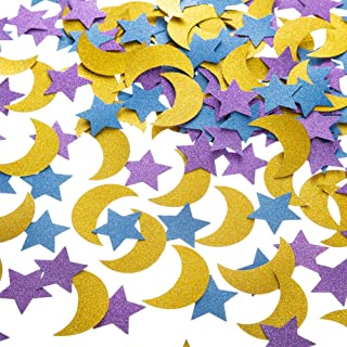 Glitter Paper Confetti Star and Moon for Table Wedding Birthday Eid Party Decoration, 1.2 inch in Diameter (Gold,Purple,Bl...
