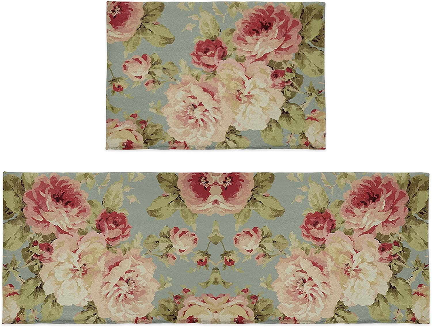 Cloud Dream Home Kitchen Rug Beauty products Sets 2 Tulsa Mall Peony Flowers Leaves V Piece