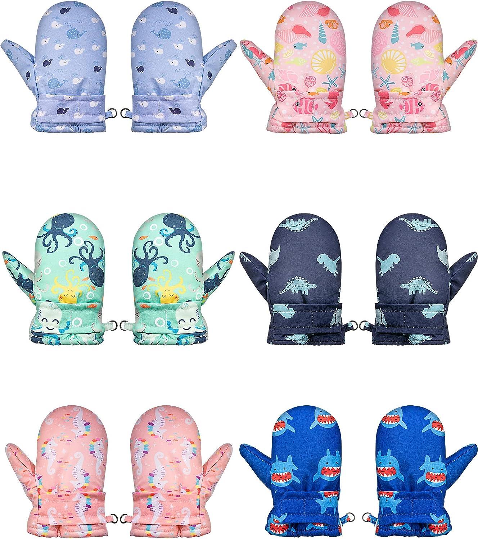 6 Pairs Winter Waterproof Baby Gloves Fleece Lined Toddler Mittens Gloves Windproof Warm Kids Ski Gloves Cartoon Child Snow Gloves for Boys Girls