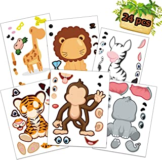 Happy Storm Jungle Party Games 24 Make A Jungle Animal Stickers for Kids Safari Stickers Jungle Party Supplies Favors Safari Theme Party Game Activities for Boys Girls Birthday Party
