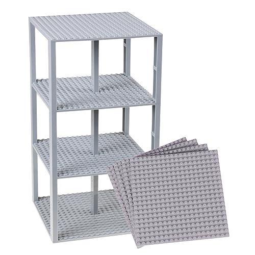 Stapelbare Premium-Bauplatten - inkl. neuen verbesserten 2x2-Bausteinen - kompatibel mit allen großen Marken - geeignet für Turm-Konstruktionen - Set aus 4 Platten - je 15,2 x 15,2 cm - Hellgrau