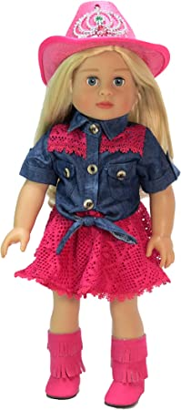 Hot ~ Fit to 18-inch Girls Doll Handmade Cowboy Shoulder Strap Red Skirt New