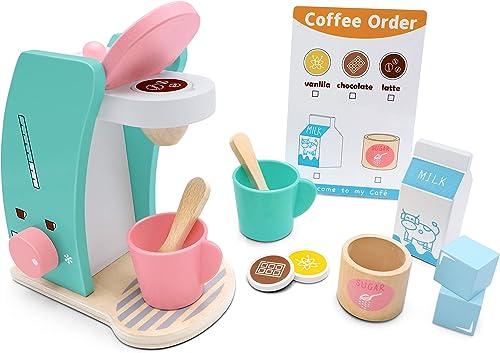 Tiny Land Accesorios de Cocina Play - Juego de cafetera de Madera para Preparar y Servir, fomenta el Juego imaginativ...