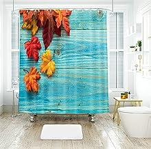 AMDXD 100% Polyester Shower Curtain 72x78Inch (180x200CM), Board Maple Leaf Shower Curtain 3D, Bathroom Decor with 12 Hook...
