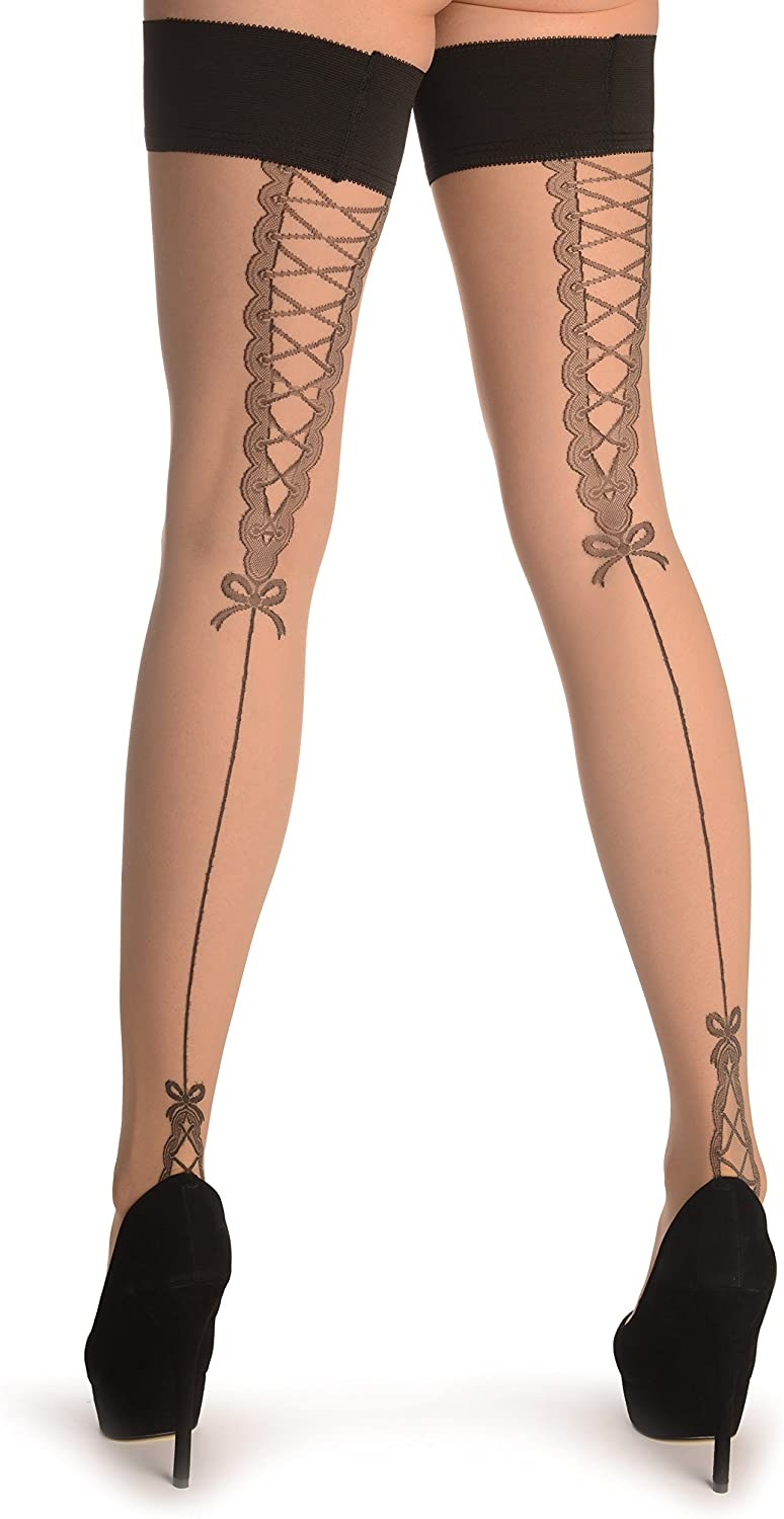 Nude With French Corset Back Seam - Stay - Up Thigh High Hold Ups (Stockings)