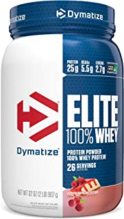 Dymatize Elite 100% Whey Protein Powder, Take Pre Workout or Post Workout, Quick Absorbing & Fast Digesting, Raspberry Cheesecake, 2 Pound
