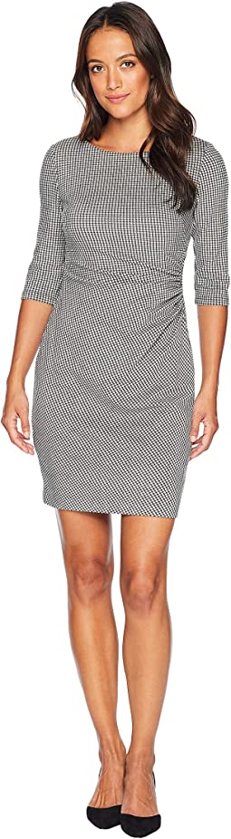 Petite Houndstooth Knit Cierra 3/4 Sleeve Day Dress