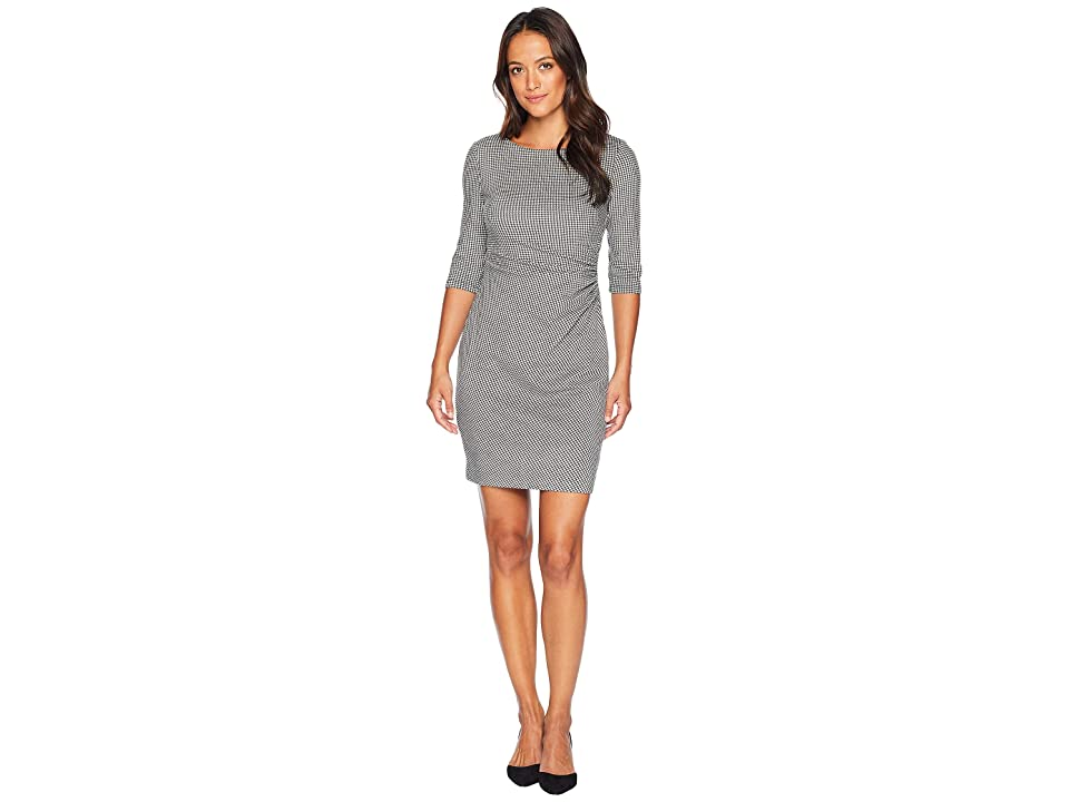LAUREN Ralph Lauren Petite Houndstooth Knit Cierra 3/4 Sleeve Day Dress (Black/White) Women
