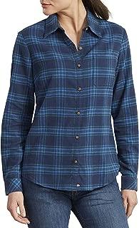 Dickies Women's Long-Sleeve Plaid Flannel Shirt, Ink Navy/Ultramarine, Extra Large