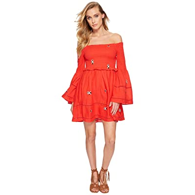 Free People Counting Daisies Embroidered Mini Dress (Red Combo) Women