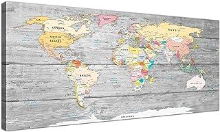 Cuadro mapamundi Wallfillers en lienzo, con fondo gris claro