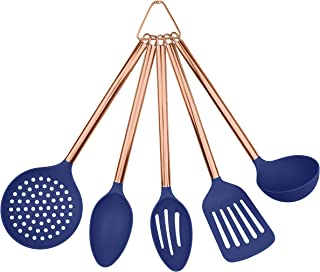 COOK With COLOR 5 Piece Blue Nylon Cooking Utensil Set on a Ring with Rose Gold Copper Handles