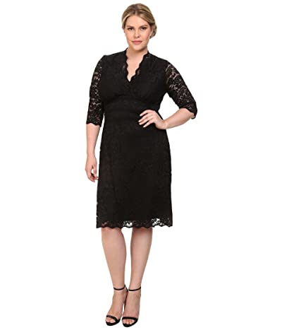 Kiyonna Scalloped Boudoir Lace Dress (Black Lace/Black Lining) Women
