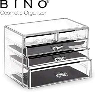 BINO 5 Drawer Acrylic Jewelry and Makeup Organizer, Clear Cosmetic Organizer Vanity Storage Display Box Make Up Organizers And Storage Makeup Stand