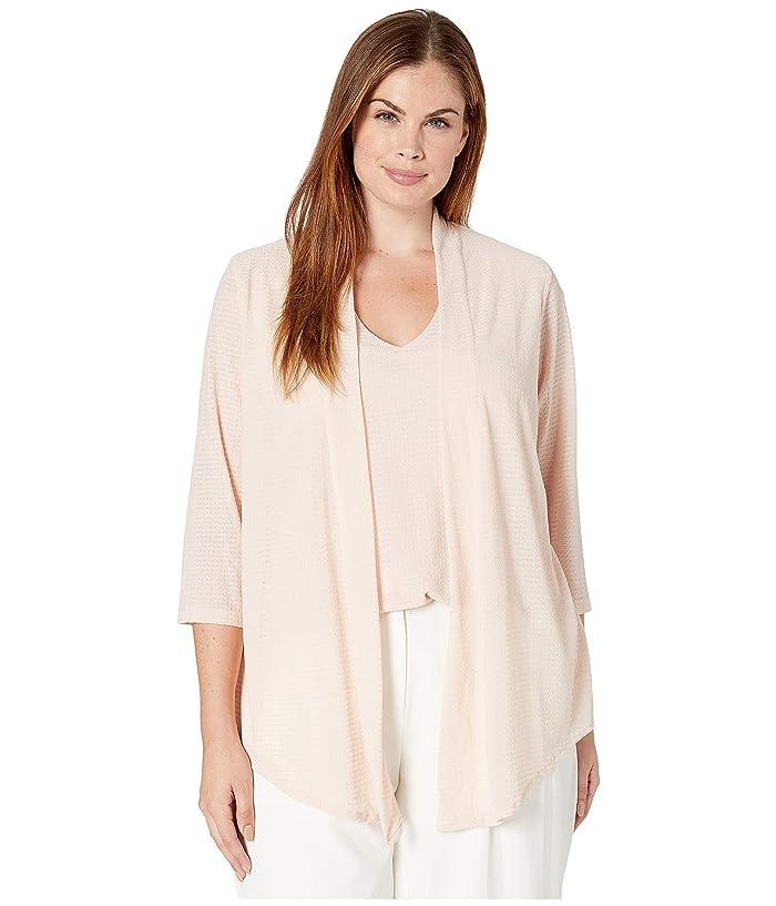 Plus Size Long Sleeve Textured Faux Flyaway (Blush) Women's Clothing