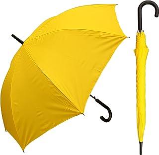 "RainStoppers Auto Open European Hook Handle Arc Umbrella, Yellow, 48"", W032TH"