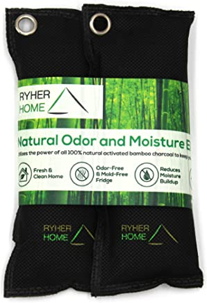 Ryher All Natural Bamboo Charcoal Shoe Deodoriser – Prevents Mould and Bacteria - Smoke Smell Remover - Air Purifying Bags - Absorb and Eliminate Odour and Moisture for Home Kitchen, Shoes, Closet, Trunk, Car, Pet Area - 100% European Quality Company (pack of 2) (Original)