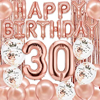 Larchio 30th Rose Gold Birthday Decorations, Rose Gold 30 Foil Balloons, Happy Birthday Balloons Banner and Foil Curtain f...