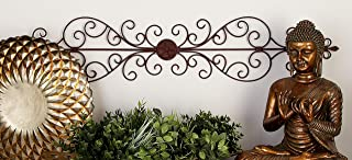 """Deco 79 Rustic Floral and Scrolled Metal Wall Decor, 8"""" H x 44"""" L, Textured Bronze Finish"""