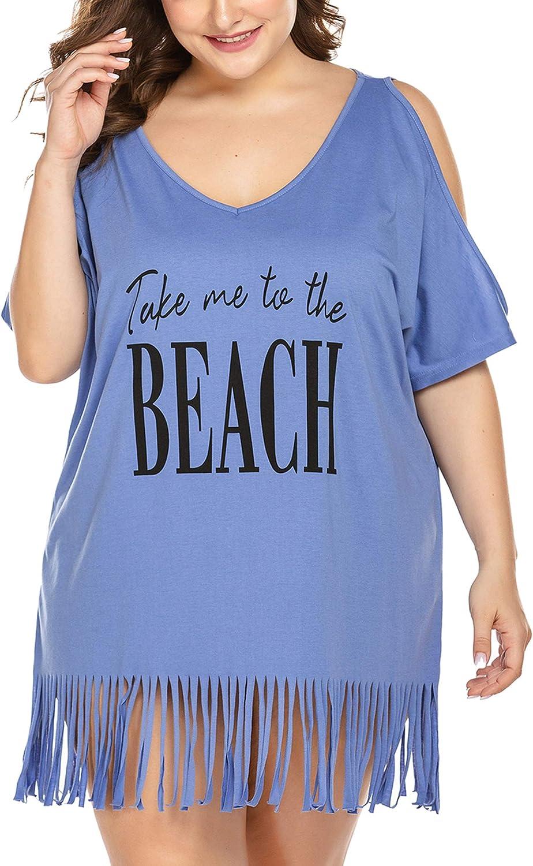 IN'VOLAND Women Plus Size Swimwear T-Shirts V Neck Letters Print Swimwear Bikini Beach Cover up